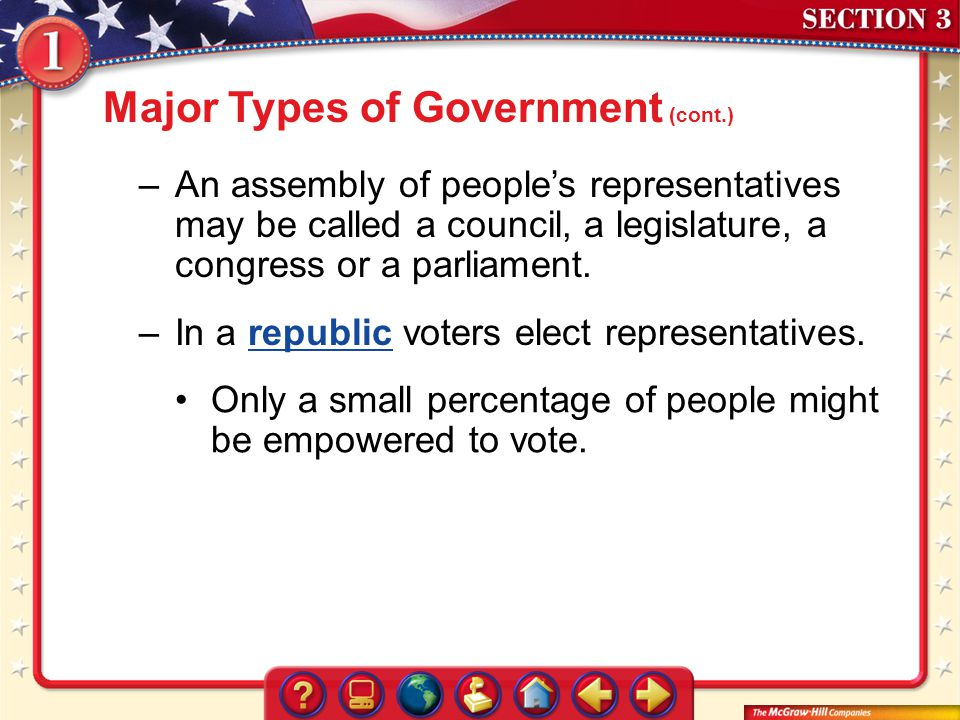Major Types of Government (cont.)