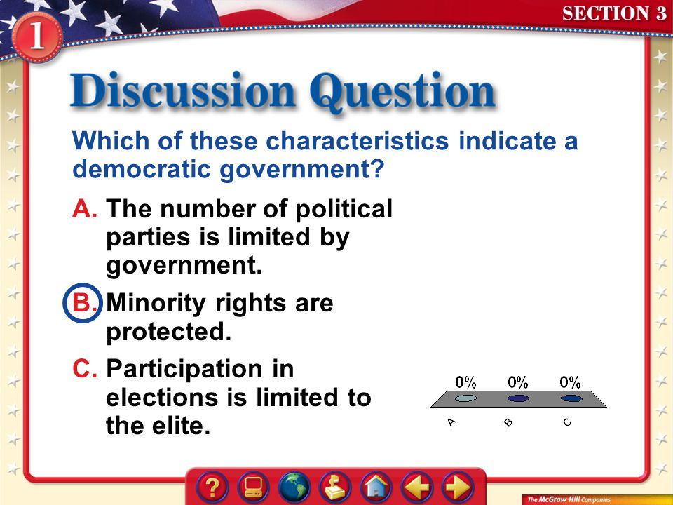Which of these characteristics indicate a democratic government