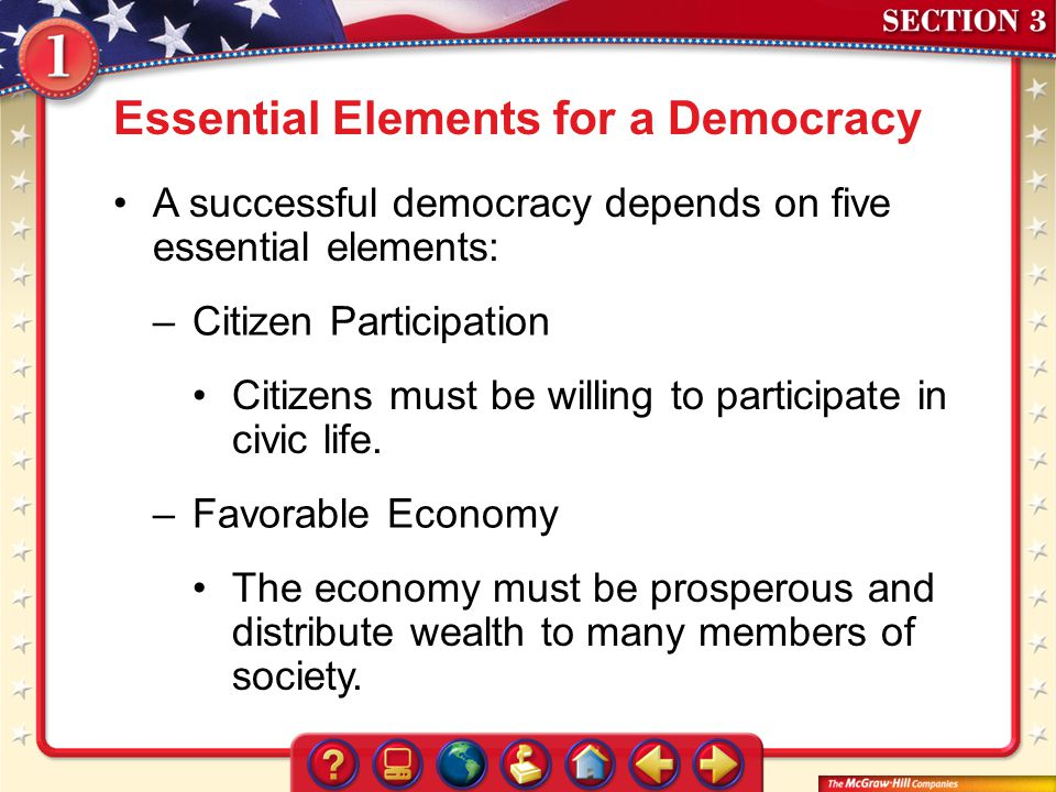 Essential Elements for a Democracy