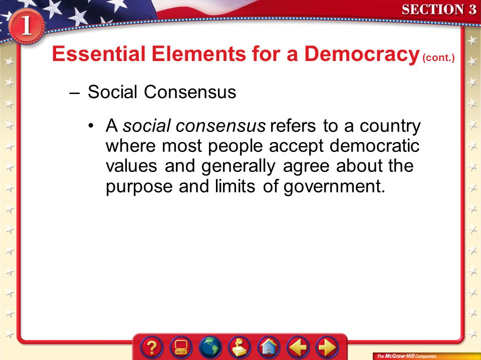 Essential Elements for a Democracy (cont.)