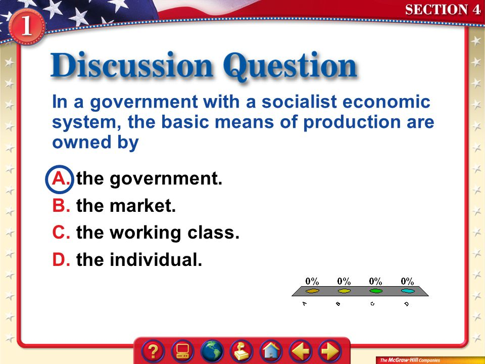 In a government with a socialist economic system, the basic means of production are owned by