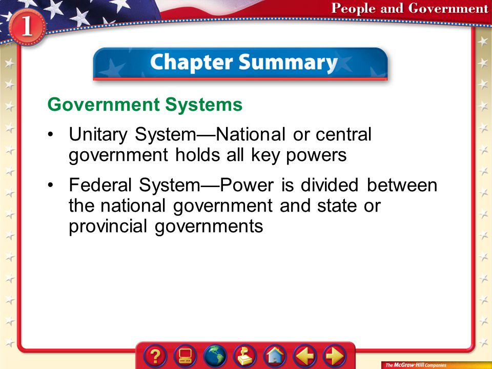 Unitary System—National or central government holds all key powers