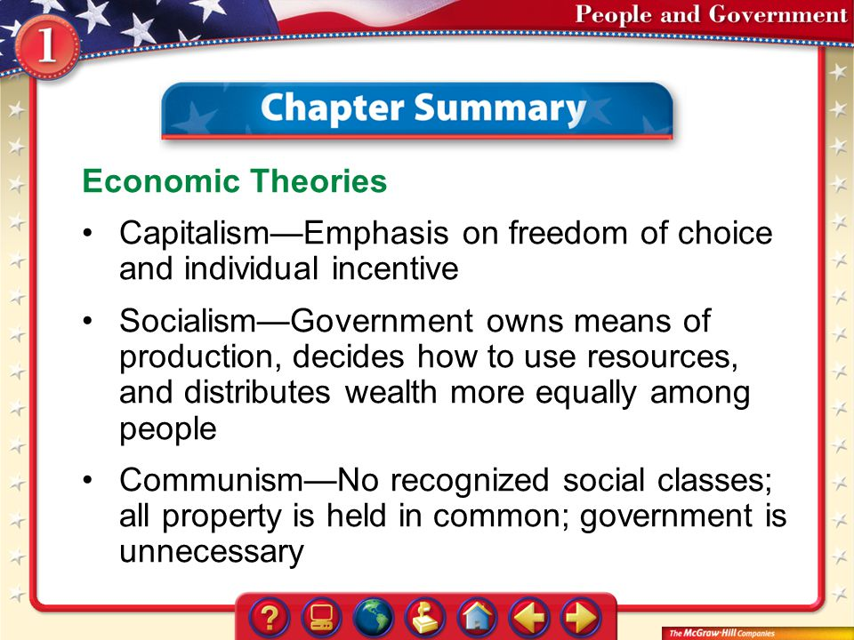 Capitalism—Emphasis on freedom of choice and individual incentive