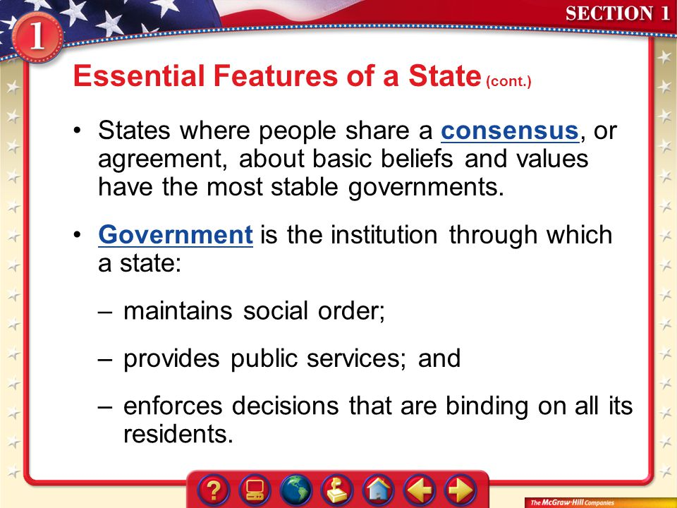 Essential Features of a State (cont.)