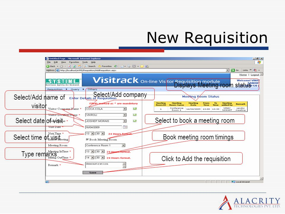 New Requisition Displays Meeting room status Select/Add company