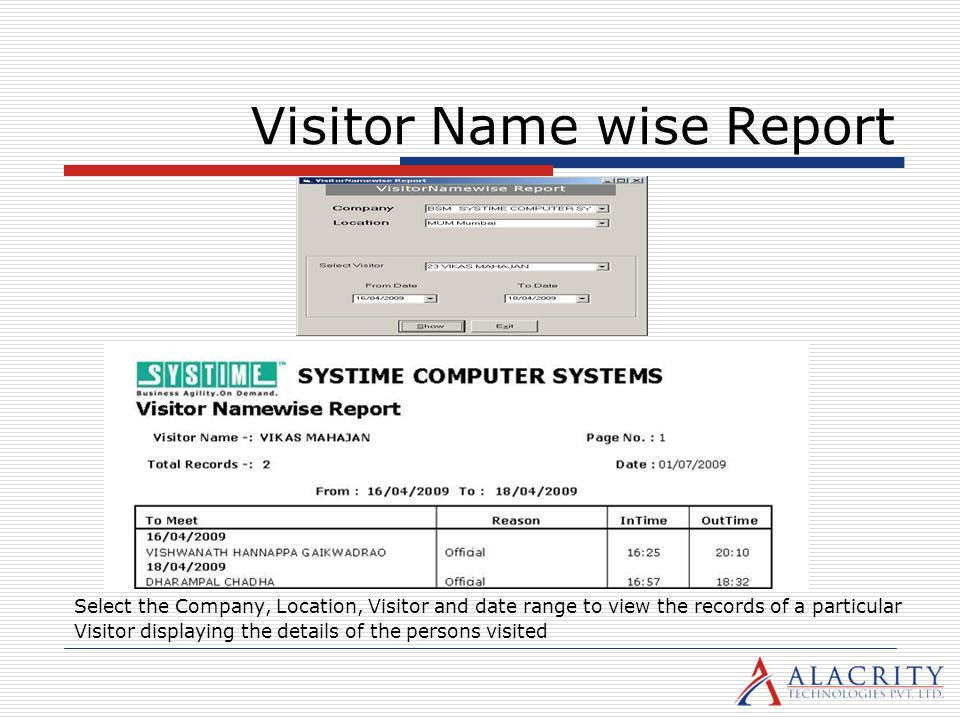 Visitor Name wise Report