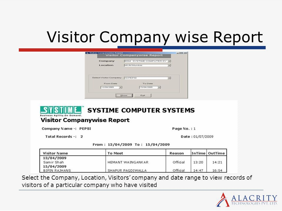 Visitor Company wise Report