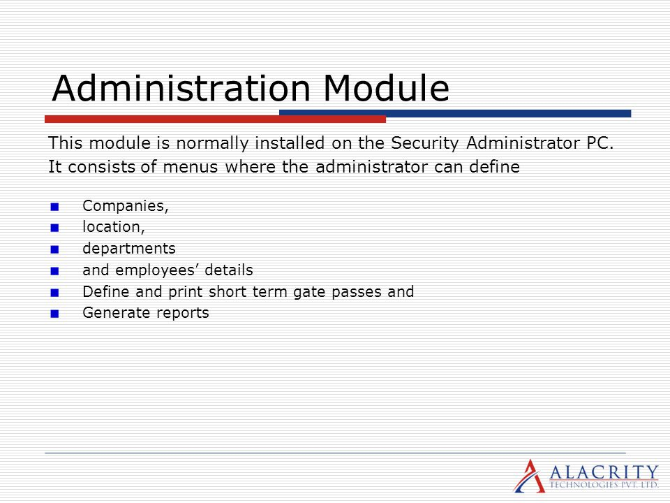 Administration Module