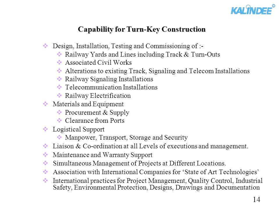 Capability for Turn-Key Construction