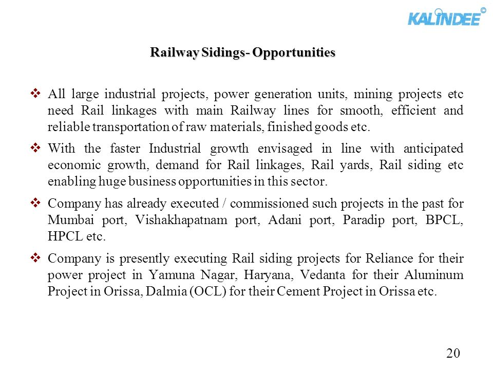 Railway Sidings- Opportunities