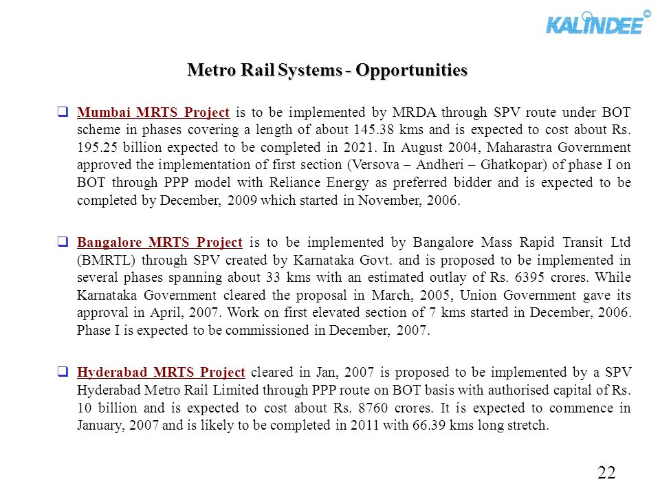 Metro Rail Systems - Opportunities