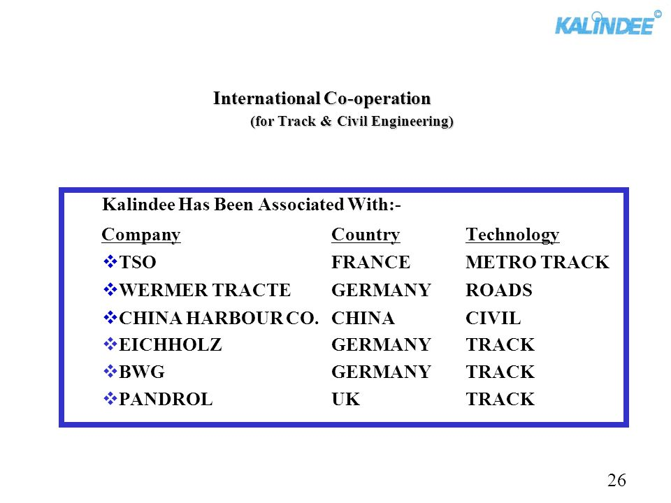 International Co-operation (for Track & Civil Engineering)