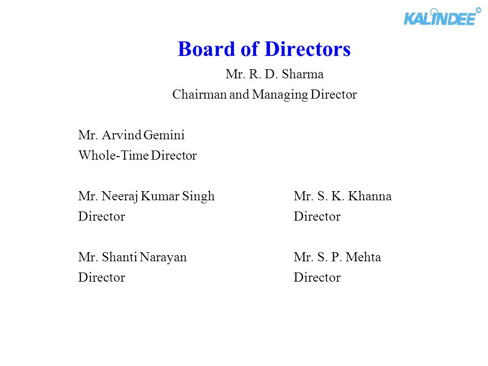 Chairman and Managing Director
