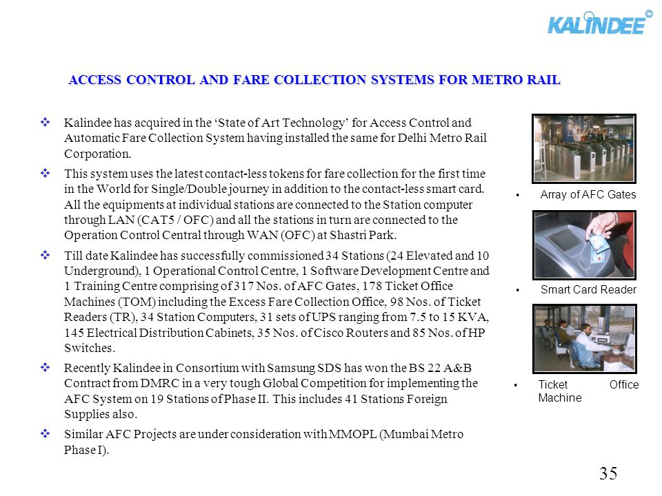 ACCESS CONTROL AND FARE COLLECTION SYSTEMS FOR METRO RAIL
