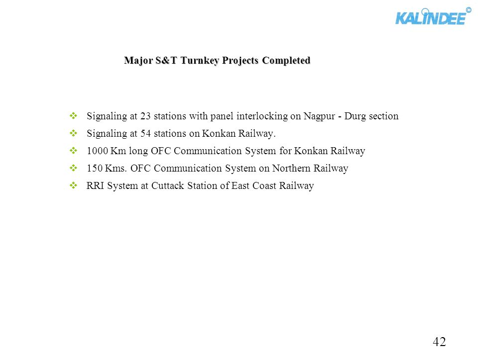 Major S&T Turnkey Projects Completed