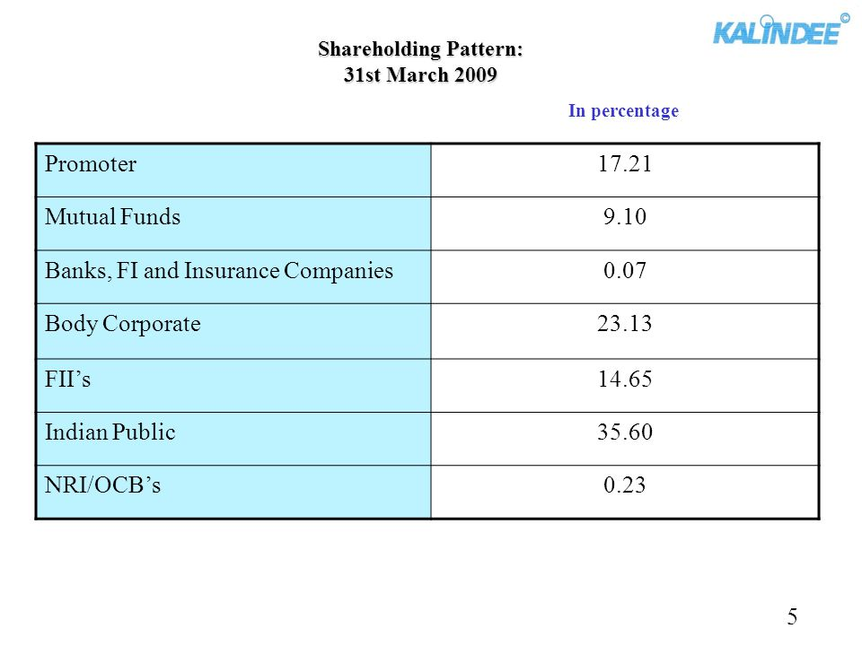 Shareholding Pattern: 31st March 2009