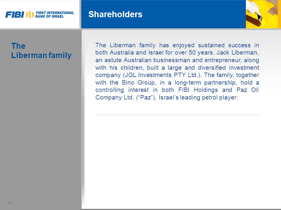 Shareholders The Liberman family