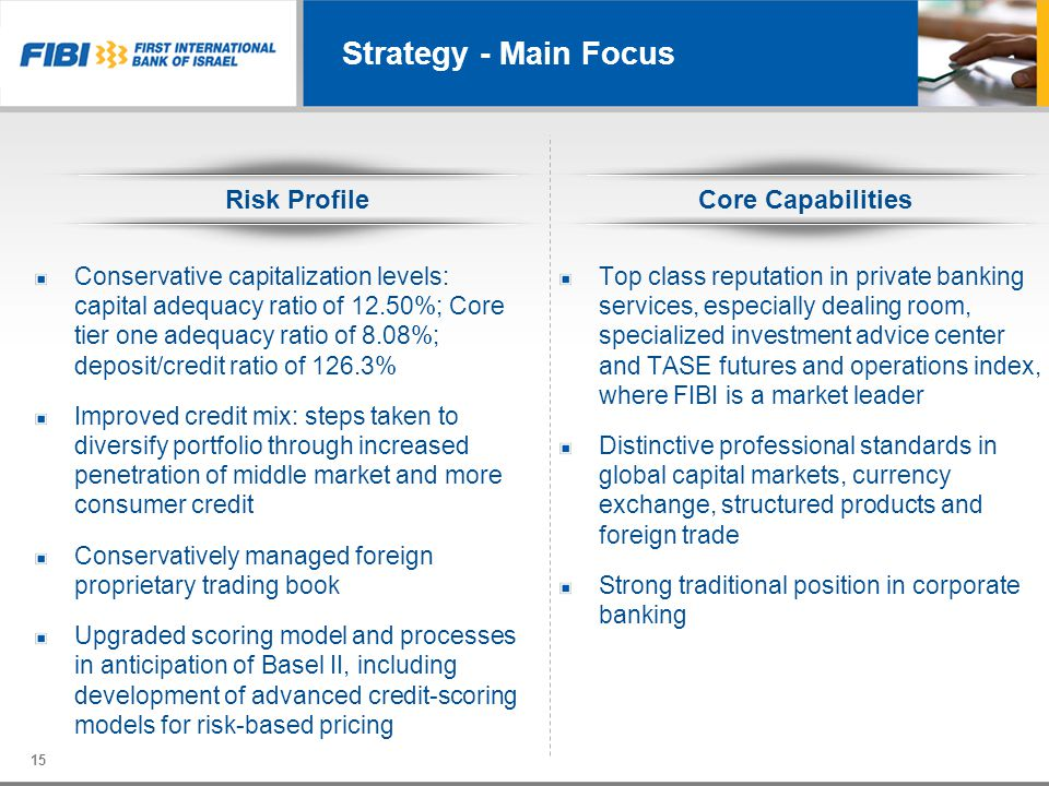 Strategy - Main Focus Risk Profile Core Capabilities