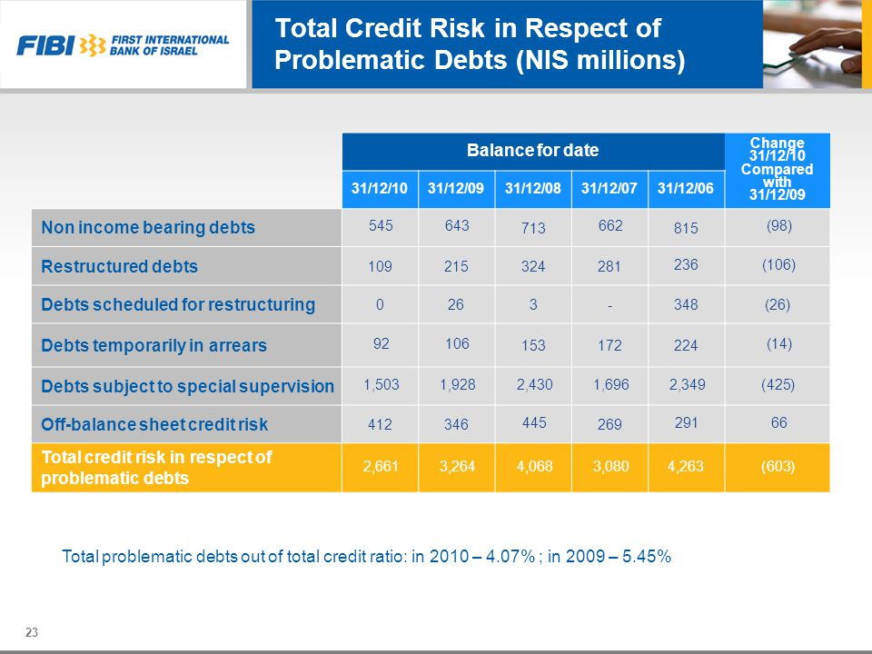 Total Credit Risk in Respect of Problematic Debts (NIS millions)