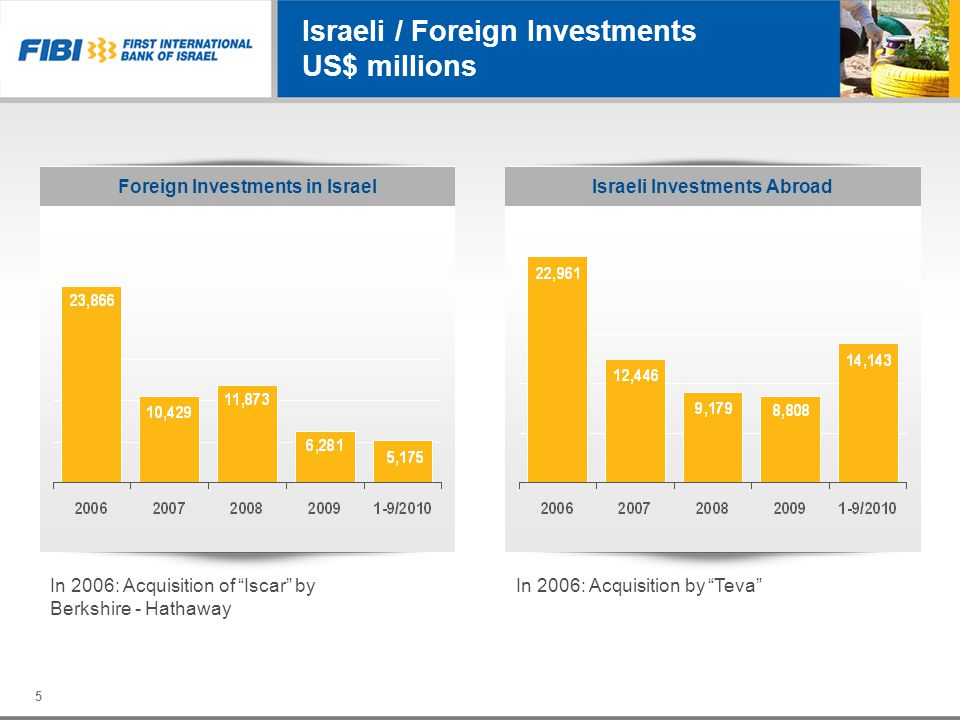 Israeli / Foreign Investments US$ millions