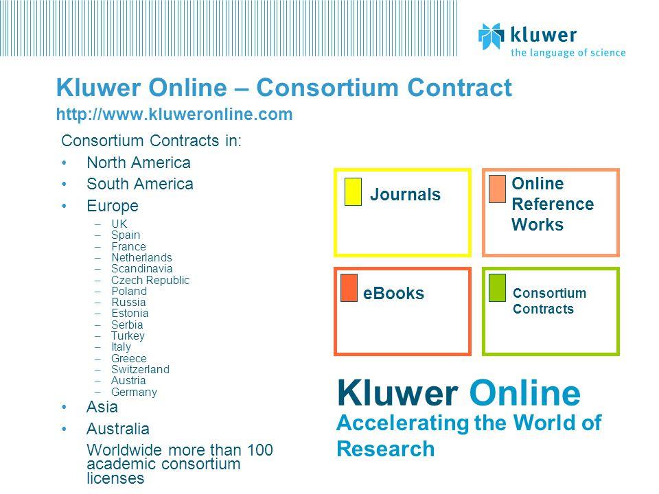 Kluwer Online – Consortium Contract http://www.kluweronline.com