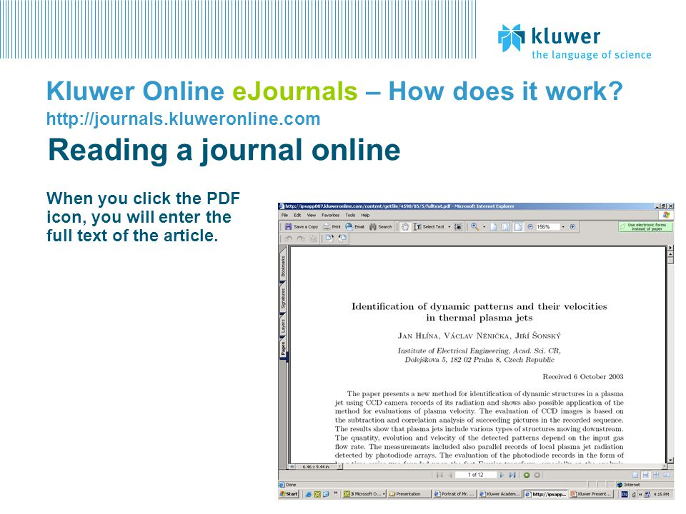 Reading a journal online
