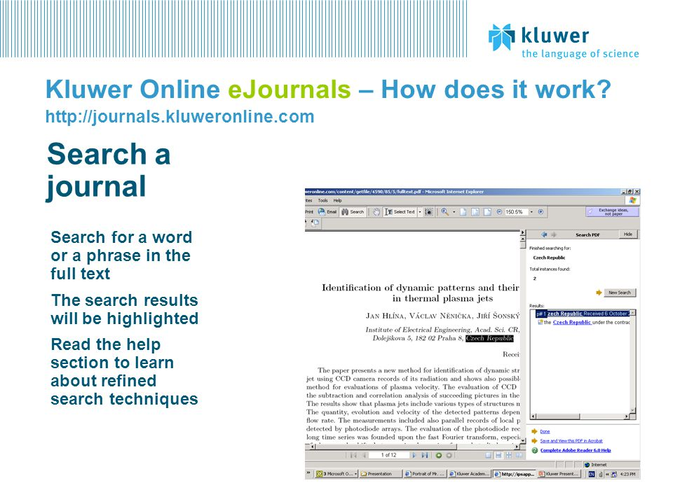 Kluwer Online eJournals – How does it work. http://journals