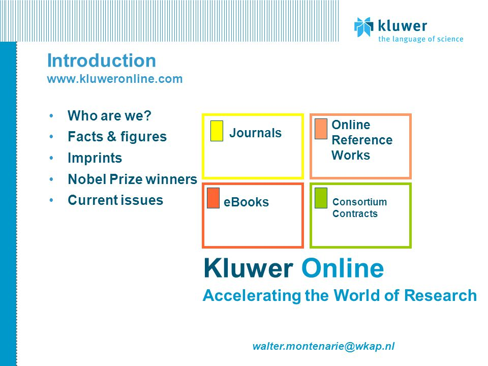 Introduction www.kluweronline.com