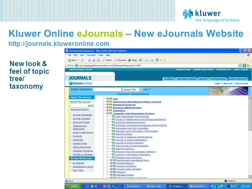 Kluwer Online eJournals – New eJournals Website http://journals