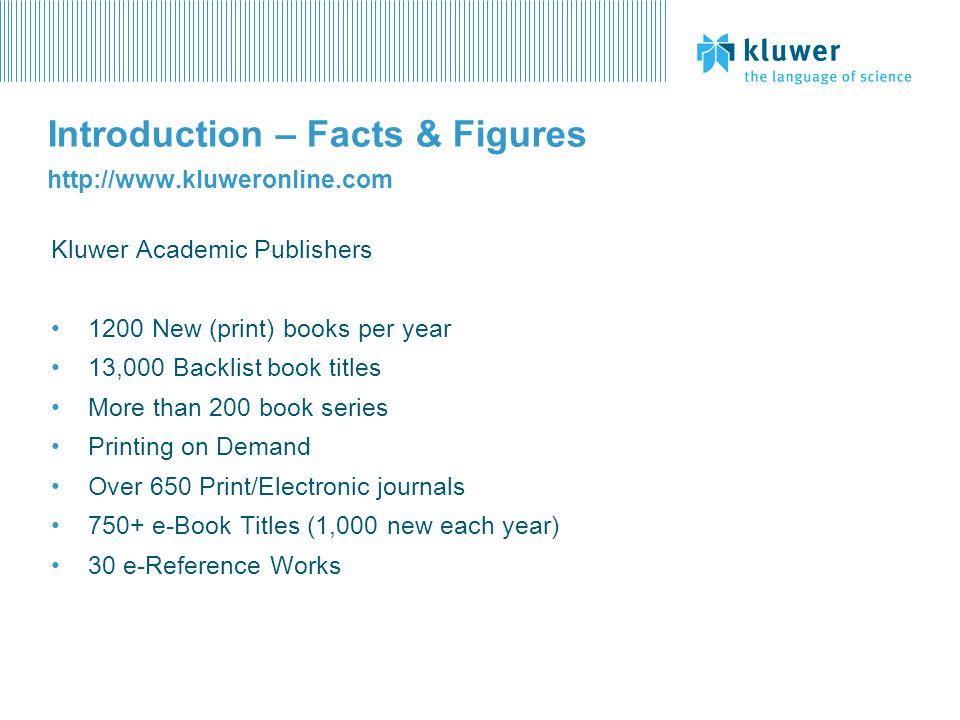 Introduction – Facts & Figures http://www.kluweronline.com