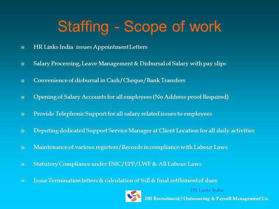 Staffing - Scope of work