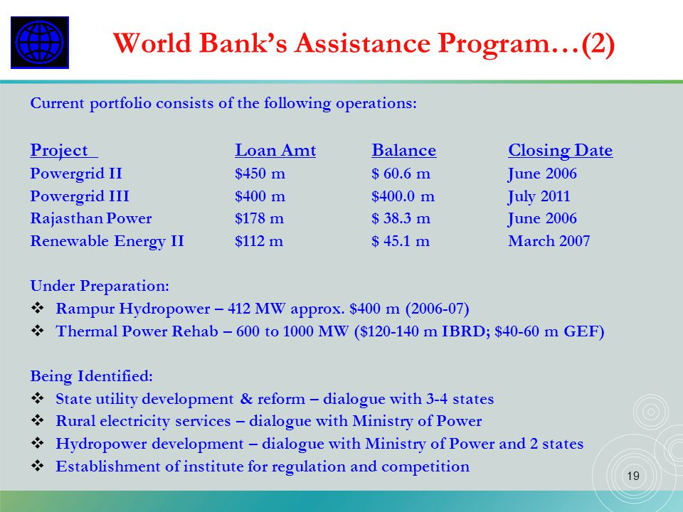 World Bank's Assistance Program…(2)
