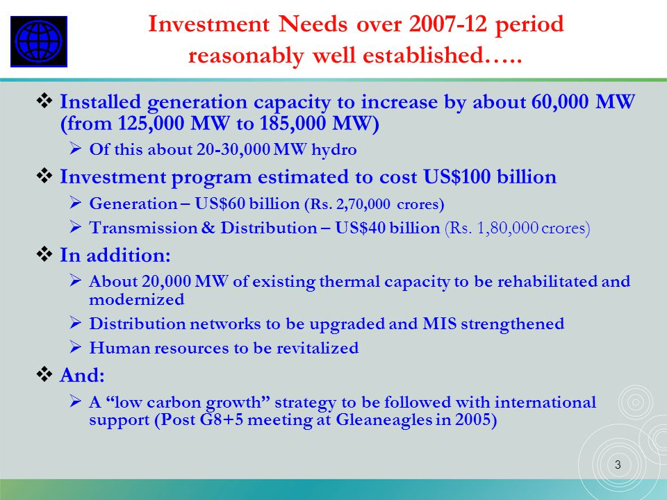 Investment Needs over 2007-12 period reasonably well established…..