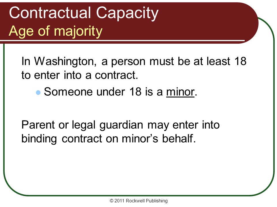 Contractual Capacity Age of majority