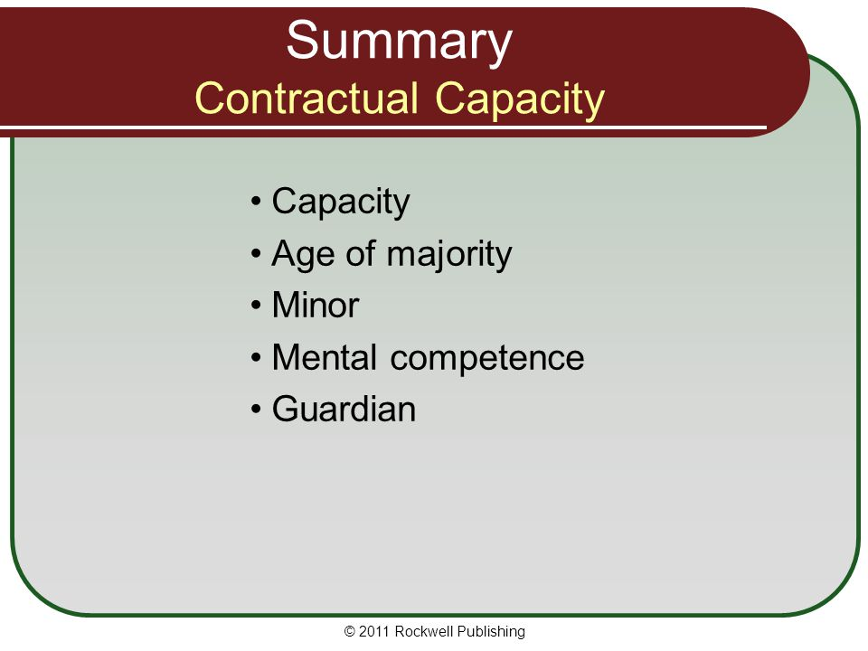 Summary Contractual Capacity