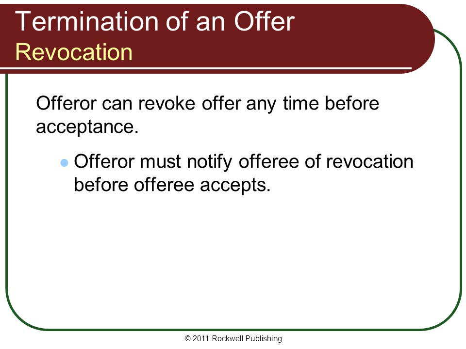 Termination of an Offer Revocation