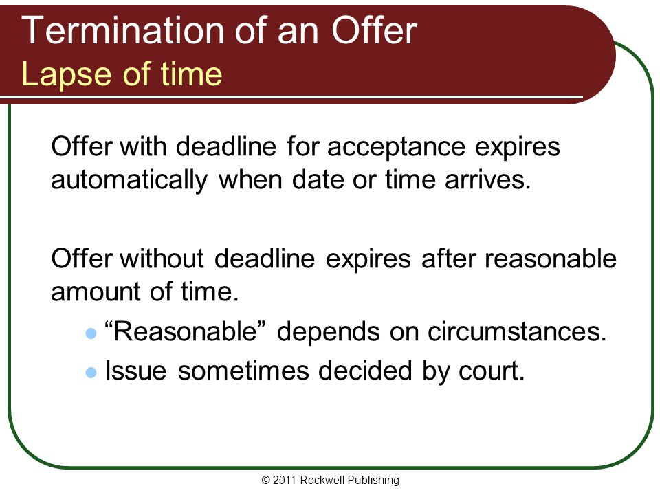 Termination of an Offer Lapse of time