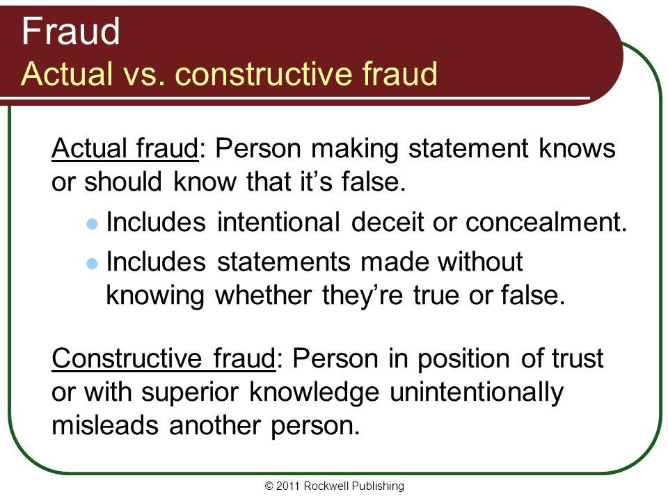 Fraud Actual vs. constructive fraud