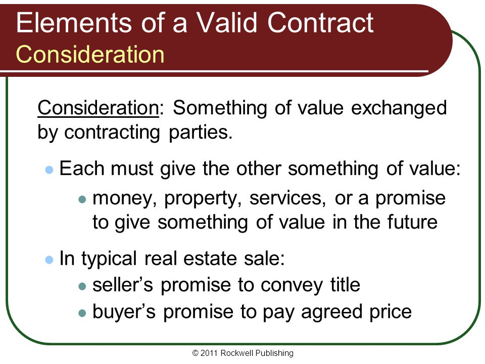 Elements of a Valid Contract Consideration