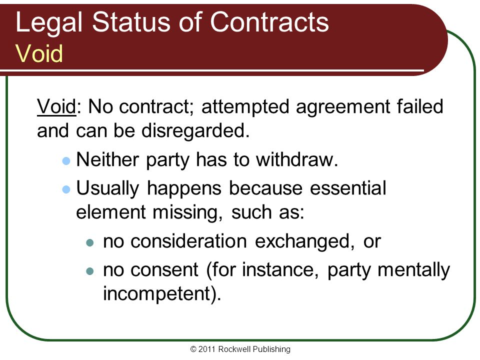 Legal Status of Contracts Void