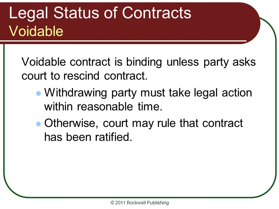 Legal Status of Contracts Voidable