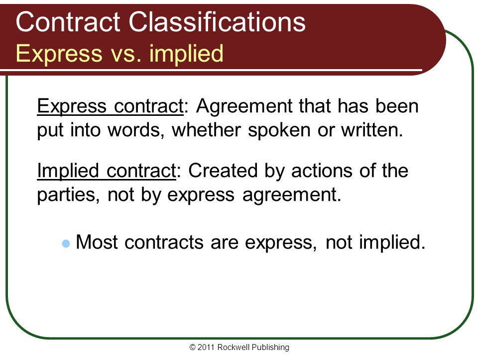 Contract Classifications Express vs. implied