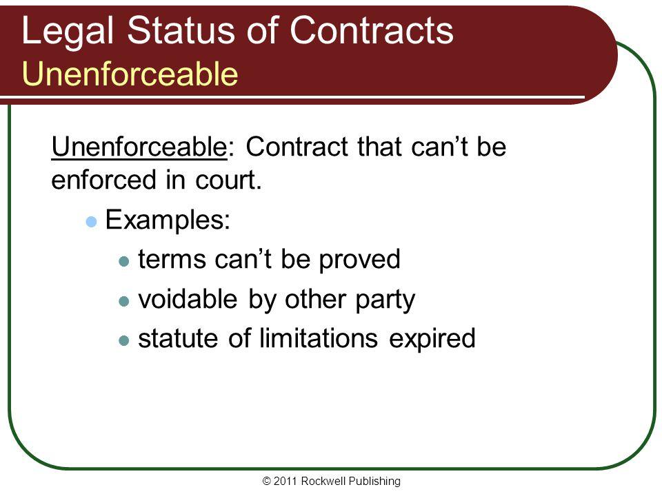 Legal Status of Contracts Unenforceable