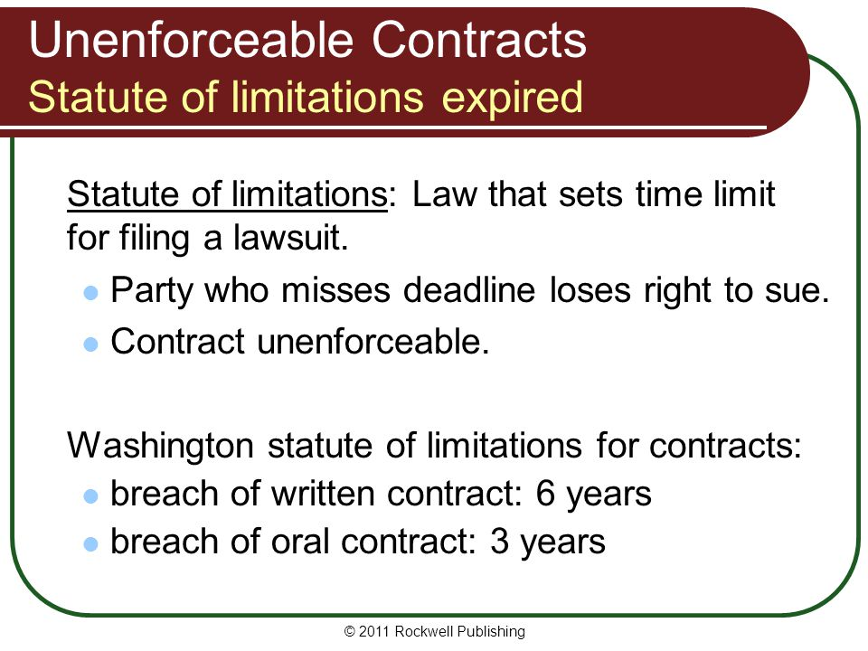 Unenforceable Contracts Statute of limitations expired