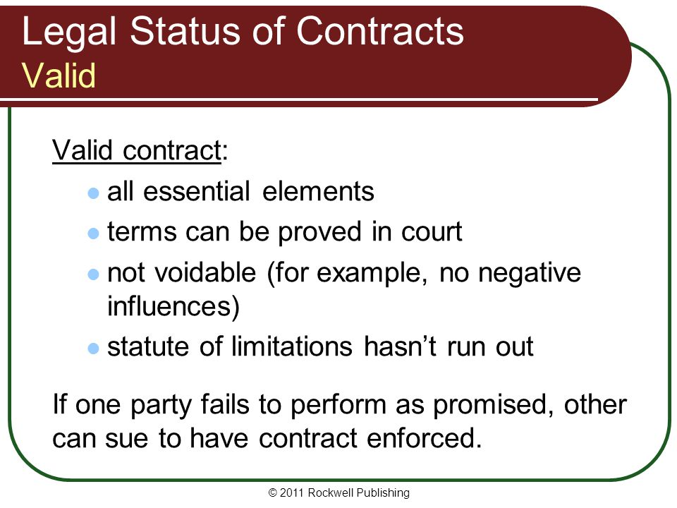 Legal Status of Contracts Valid