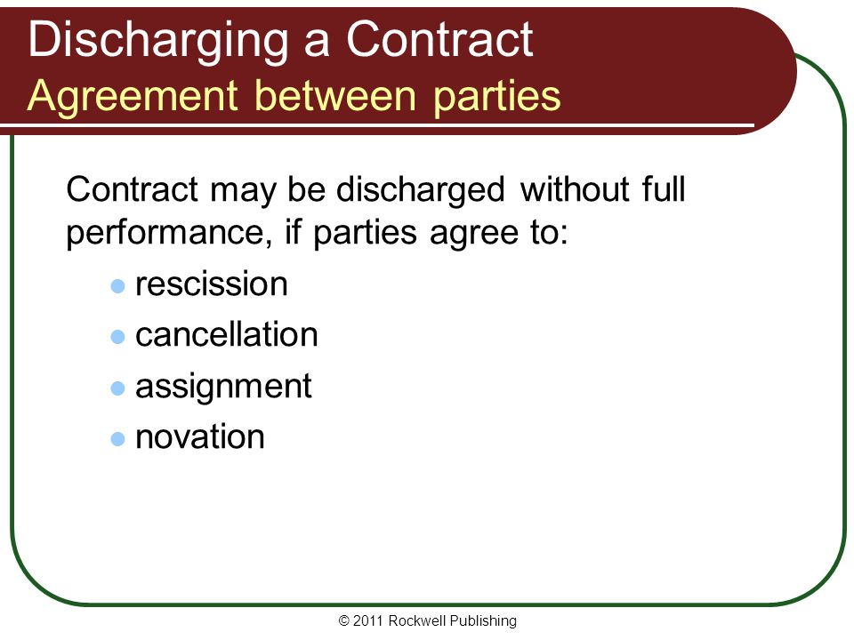 Discharging a Contract Agreement between parties