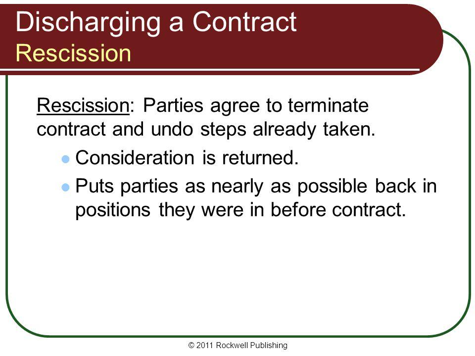 Discharging a Contract Rescission