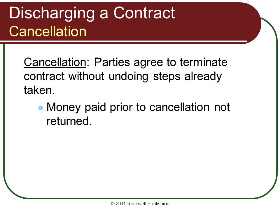 Discharging a Contract Cancellation
