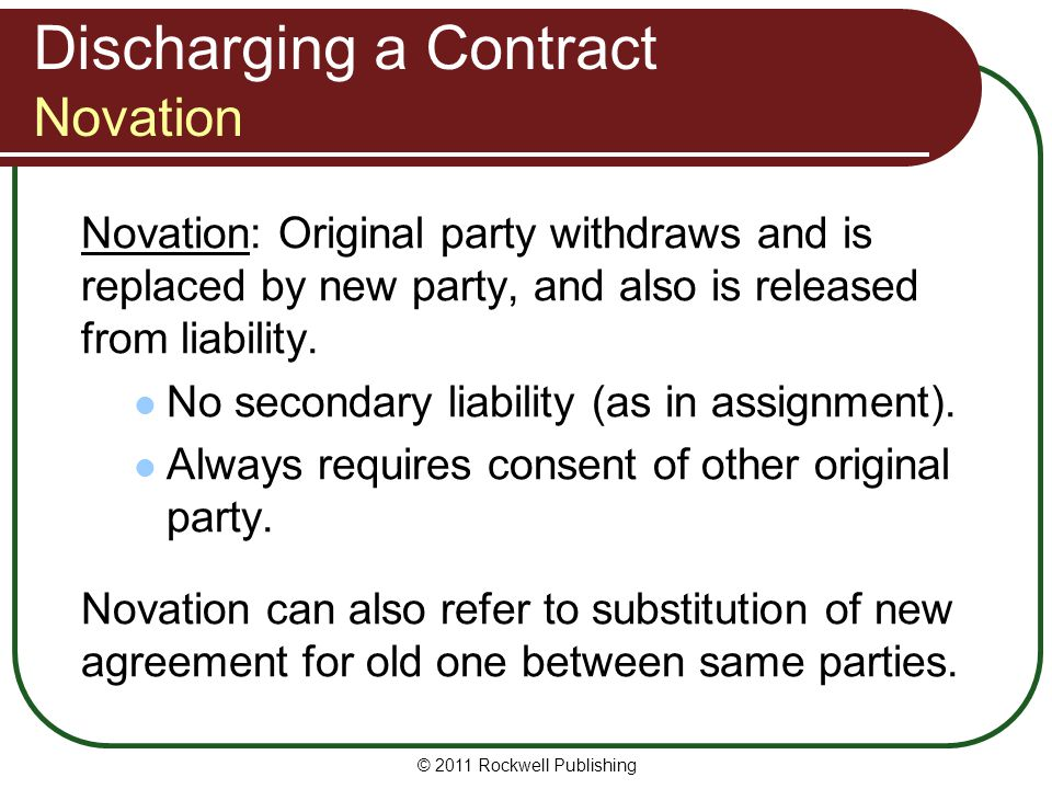 Discharging a Contract Novation
