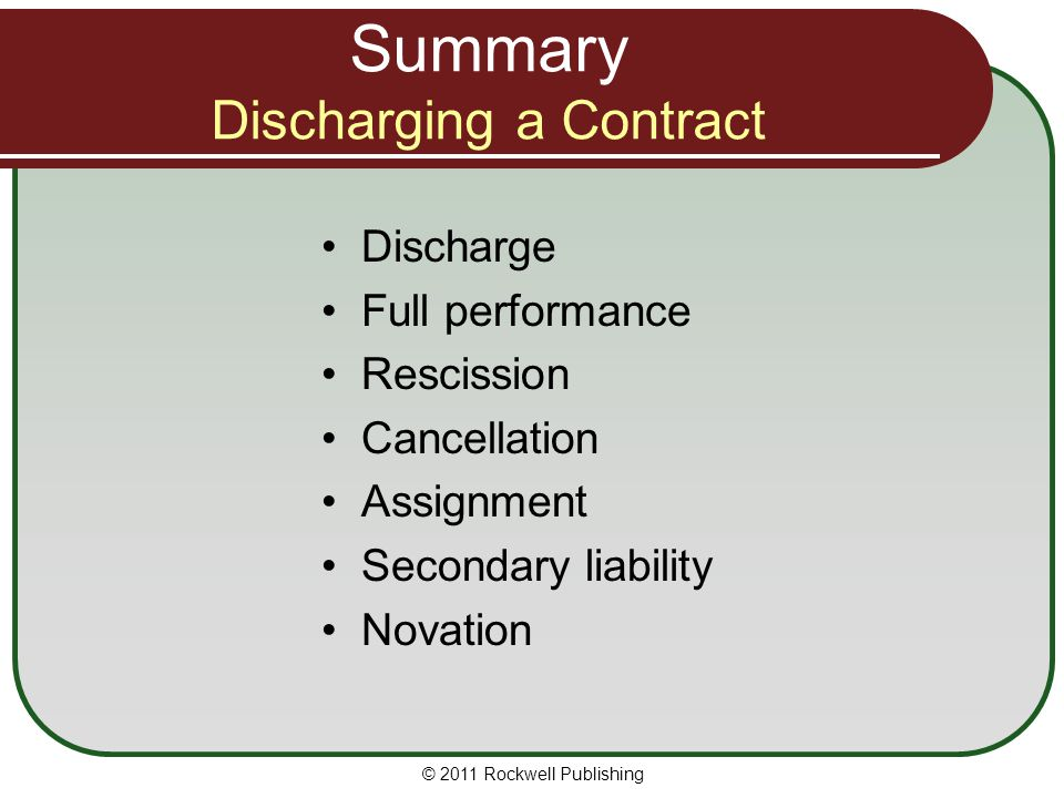 Summary Discharging a Contract